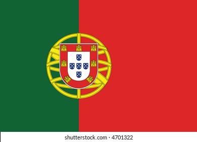 Accurate flag of Portugal in terms of colours, size, proportion, and placement of elements