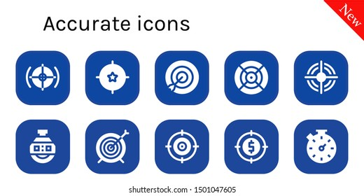 accurate icon set. 10 filled accurate icons.  Collection Of - Target, Dart, Stopclock, Stopwatch