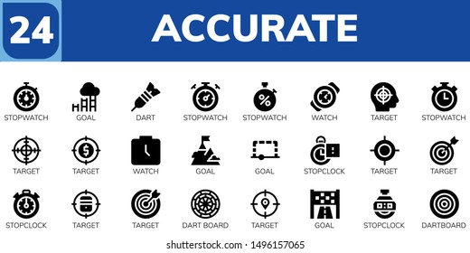 accurate icon set. 24 filled accurate icons.  Simple modern icons about  - Stopwatch, Goal, Dart, Watch, Target, Stopclock, Dart board, Dartboard