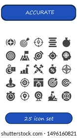 accurate icon set. 25 filled accurate icons.  Collection Of - Target, Center alignment, Stopwatch, Dartboard, Goal, Watch, Stopclock, Darts, Chronometer, Dart