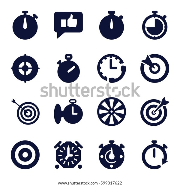 accurate icons set. Set of 16 accurate filled icons such as target, stopwatch, thumb up