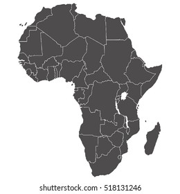Accurate map of the African continent in high resolution with the borders of States.