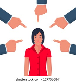Accusation concept. Sad businesswoman. People point fingers at sad person. Public victim. Vector illustration flat design. Isolated on white background. Harassment coworkers. Victim worker.