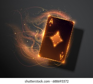 Ace card with fire effect, poker casino illustration. Vector illustration