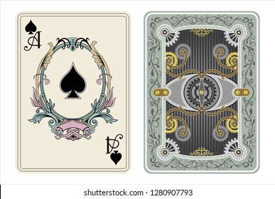 ace card spades steampunk style mechanic part mechanism playing card