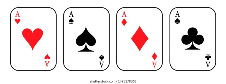 Ace cards. Card suit icon sign - vector