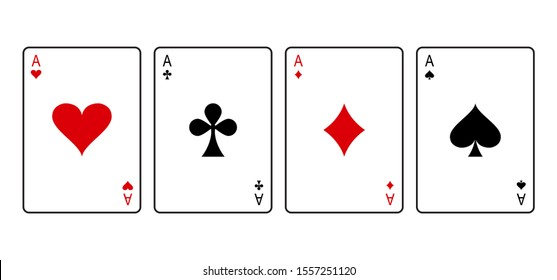 Ace cards. Red and black playing poker card suit: heart, club, diamond and spade. Vector illustration