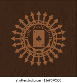 ace of clover icon inside badge with wood background