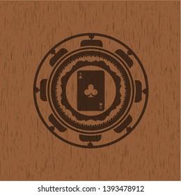 ace of clover icon inside retro style wood emblem