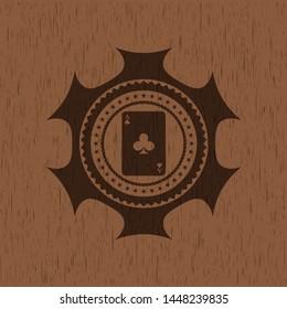 ace of clover icon inside vintage wood emblem