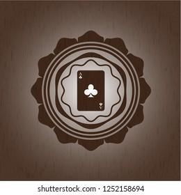ace of clover icon inside wood emblem. Retro