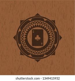 ace of clover icon inside wooden emblem. Vintage.