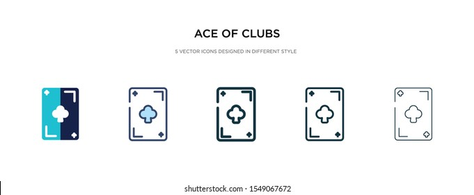 ace of clubs icon in different style vector illustration. two colored and black ace of clubs vector icons designed in filled, outline, line and stroke style can be used for web, mobile, ui