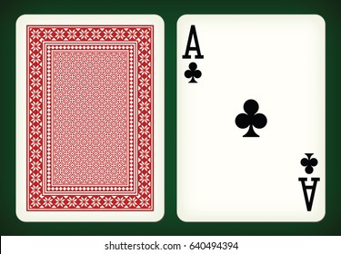 Ace of clubs - playing cards vector illustration
