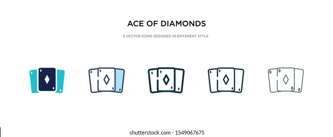 ace of diamonds icon in different style vector illustration. two colored and black ace of diamonds vector icons designed in filled, outline, line and stroke style can be used for web, mobile, ui