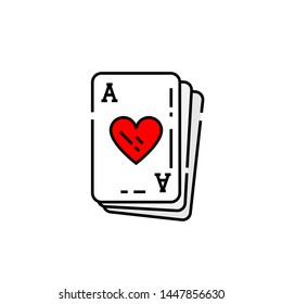 Ace of hearts card line icon. Poker playing cards symbol. Vector illustration.