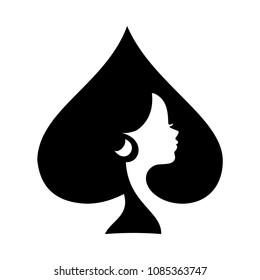 Ace lady icon, casino vector logo, silhouette face girl