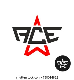 Ace letters logo. Word ACE with star linear silhouette. Leadership and success symbol.