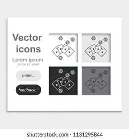 Ace playing cards with casino chips placed on web page template flat vector icon.