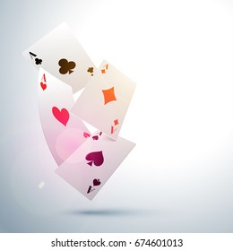 Ace Playing Cards on shiny background for Casino concept.