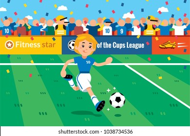 Ace soccer girl! Sport girl play football.  100% vector layered