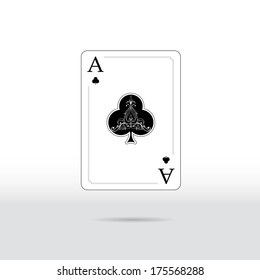 Ace of spade playing card, isolated.