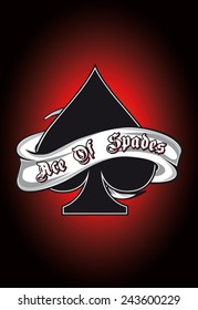 Ace of spades with banner vector
