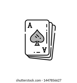Ace of spades card line icon. Poker playing cards symbol. Vector illustration.