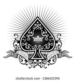 ace of spades with crown
