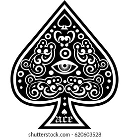 ace of spades with eyel, vintage design t shirts