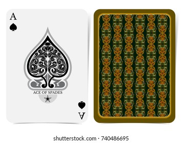 Ace of spades face with floral pattern inside spades and back with orange green floral pattern on dark suit. Vector card template