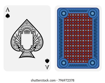 Ace of spades face with frame in center and vintage weapon around inside spades form and back with blue red geometrical texture on suit. Vector card template