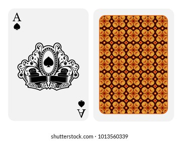 Ace of spades face with spades inside oval frame in center and floral pattern and ribbons and back with orange geometrical texture on suit. Vector card template