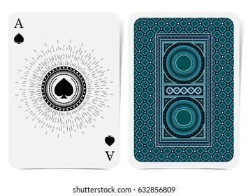 Ace of spades face with spades inside round frame and back with blue suit. Vector card template