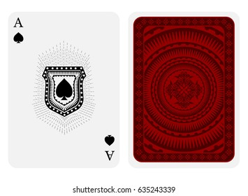 Ace of spades face with spades inside shield with rays and back side with red pattern suit. Vector card template