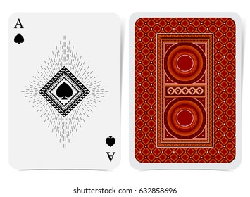 Ace of spades face with spades inside square frame and back with red suit. Vector card template