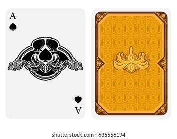 Ace of spades face with spades with lotus floral pattern and back side with gold pattern suit. Vector India card template