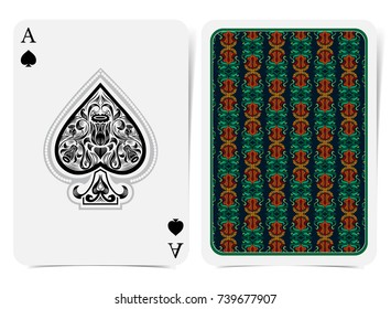 Ace of spades face with narcissus flowers pattern inside spades and back with orange green floral pattern on dark suit. Vector card template