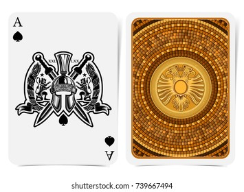 Ace of spades face with warrior helmet between lions, wreath and crossed swords and back with golden tile round pattern with two head eagle suit. Vector card template