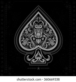 ace of spades with flower pattern inside. white in black