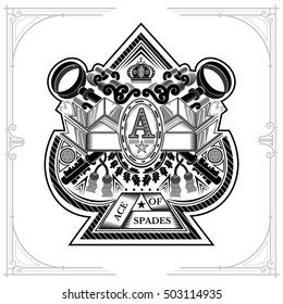 Ace of spades form with crossed keys and vintage elements inside. Design playing card element black on white