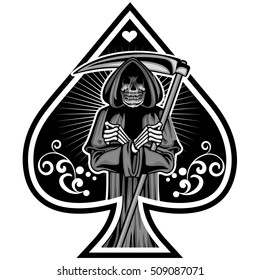 ace of spades with gothic vintage and skull