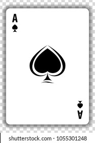 Ace of Spades isolated on transparent background. Vector illustration.