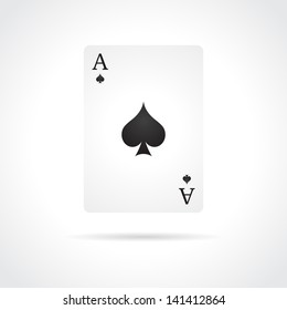 Ace of Spades isolated on white background