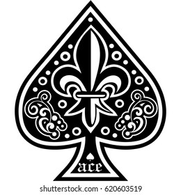 ace of spades with lily, vintage design t shirts