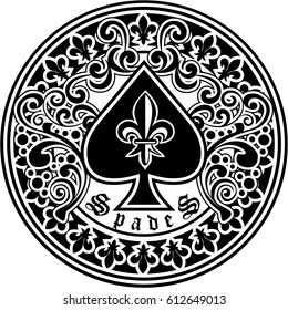 ace of spades with lily,vintage design t shirts