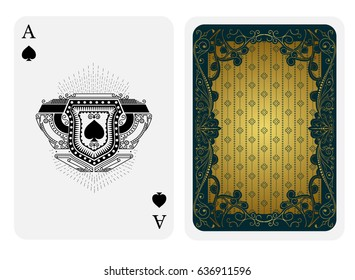 Ace of spades in line style shield face and back with green gold vintage texture suit. Vector card template isolated