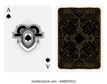 Ace of spades in line style shield face and back with golden art deco pattern style on black suit. Vector card template