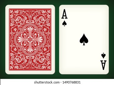Ace of spades - playing cards vector illustration