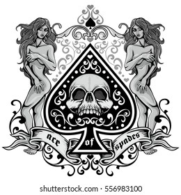 ace of spades with skull and antique girl
